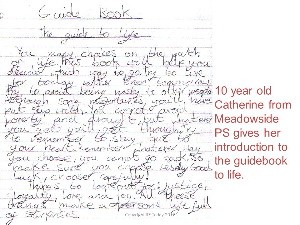 10 year old Catherine from Meadowside PS gives her introduction to the guidebook to life.