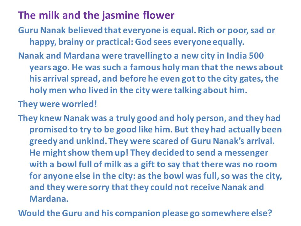 The milk and the jasmine flower