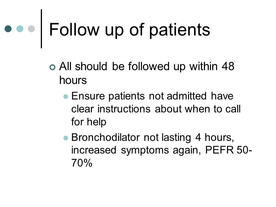 Follow up of patients All should be followed up within 48 hours