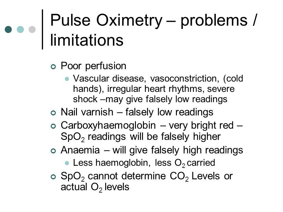 Pulse Oximetry – problems / limitations