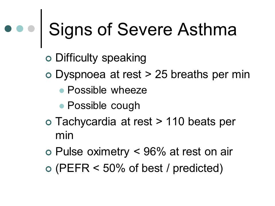 Signs of Severe Asthma Difficulty speaking