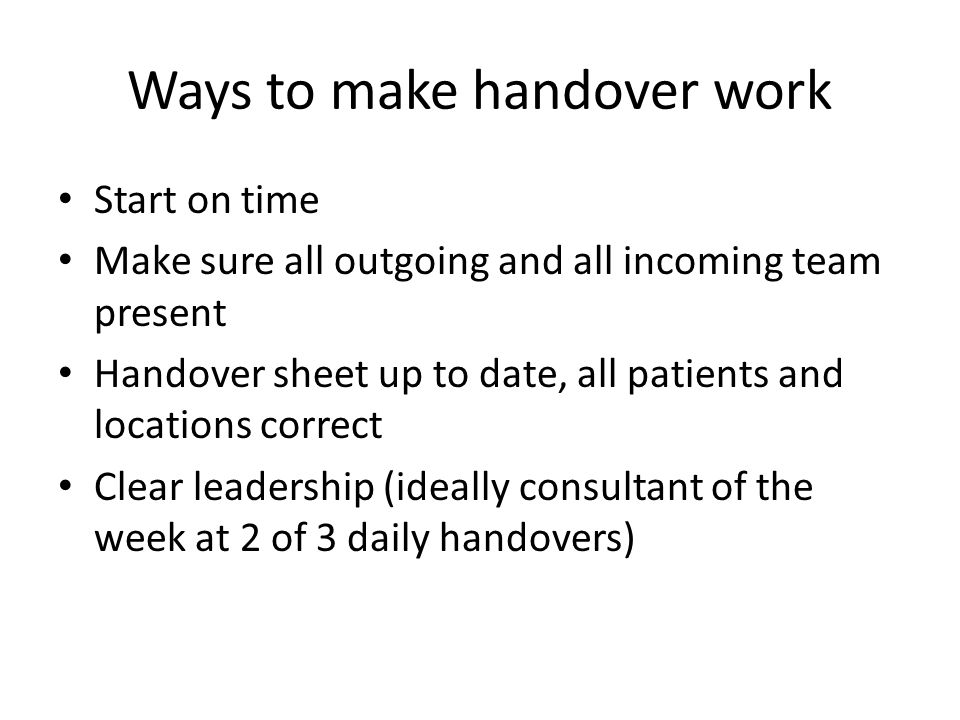 Ways to make handover work
