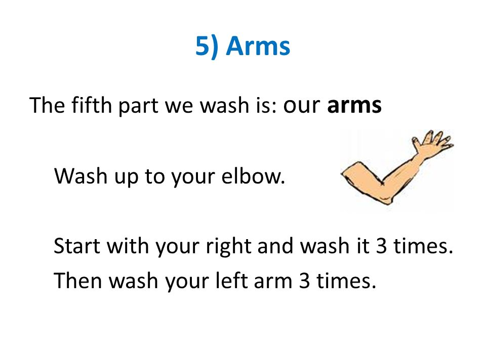 5) Arms The fifth part we wash is: our arms Wash up to your elbow.