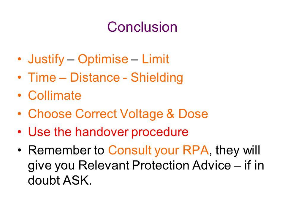 Conclusion Justify – Optimise – Limit Time – Distance - Shielding