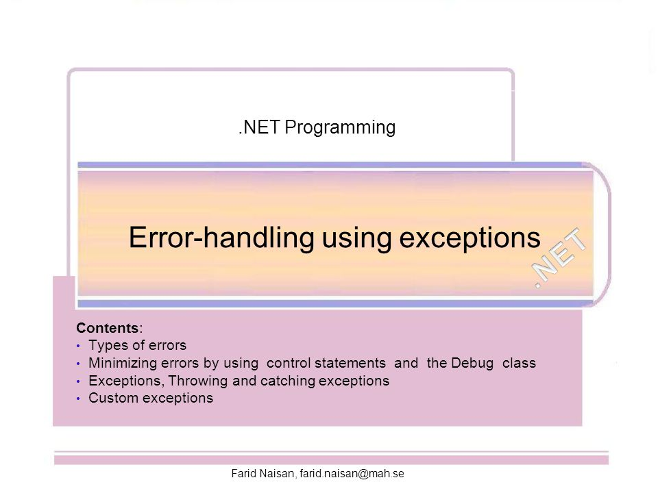 Error-handling using exceptions