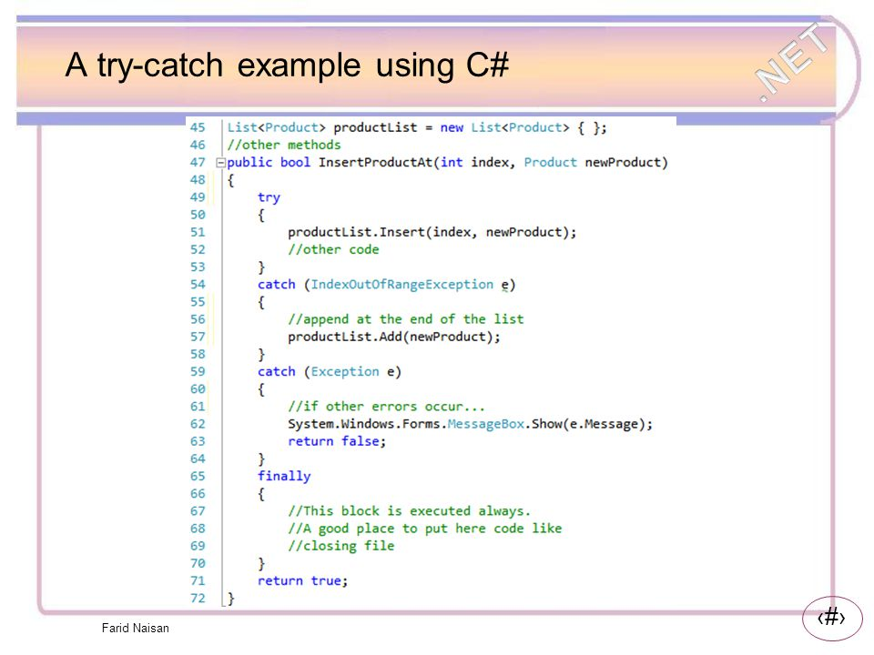 A try-catch example using C#