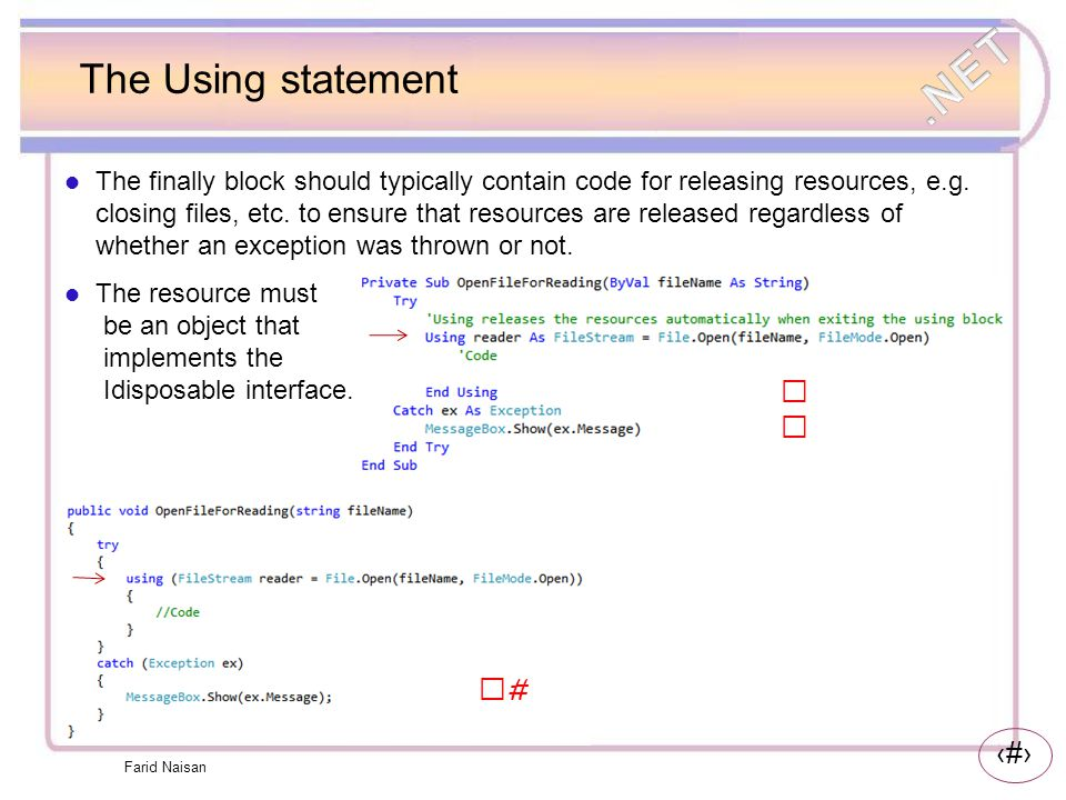 The Using statement VB C#