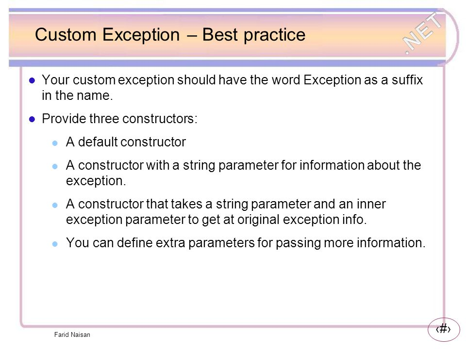 Custom Exception – Best practice