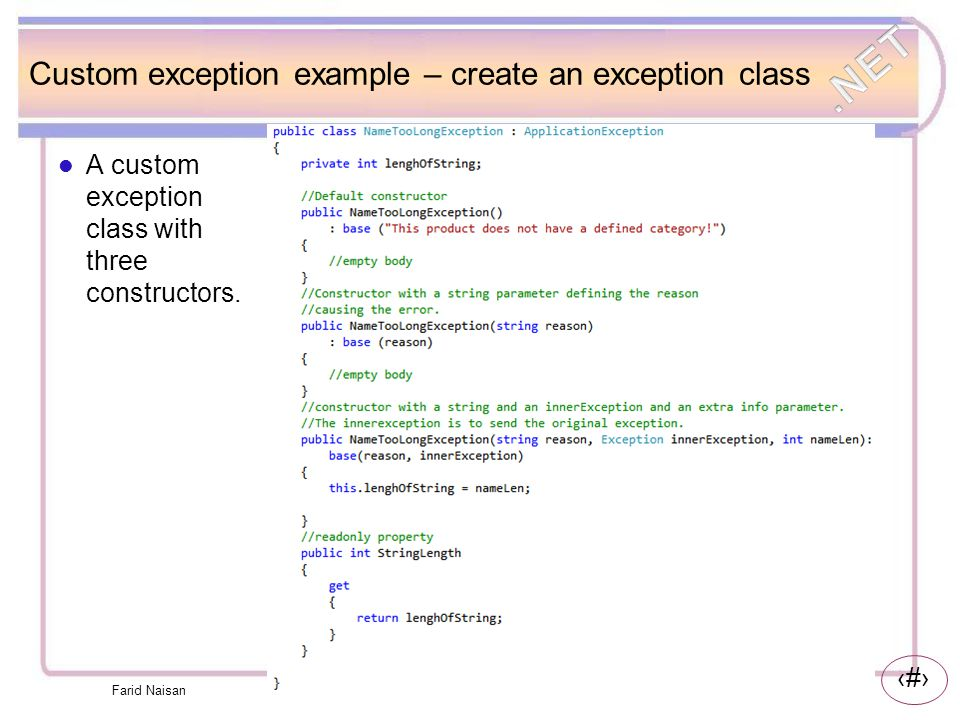 Custom exception example – create an exception class