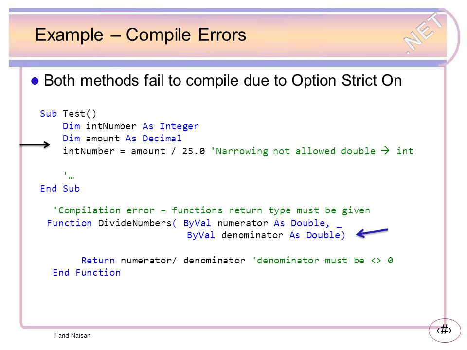 Example – Compile Errors