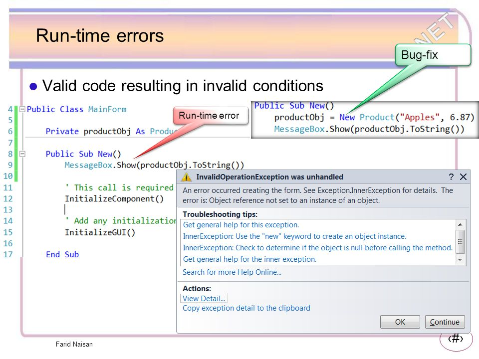 Run-time errors Valid code resulting in invalid conditions Bug-fix