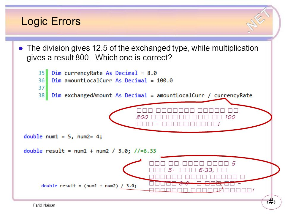 Logic Errors The division gives 12.5 of the exchanged type, while multiplication gives a result 800. Which one is correct