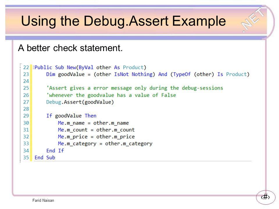Using the Debug.Assert Example