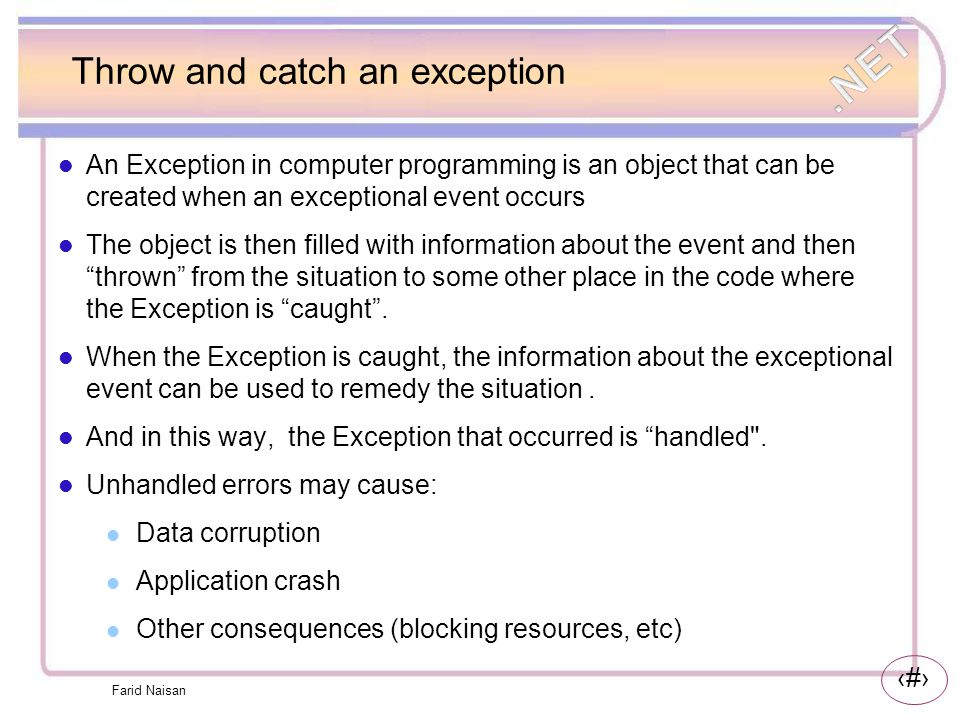 Throw and catch an exception