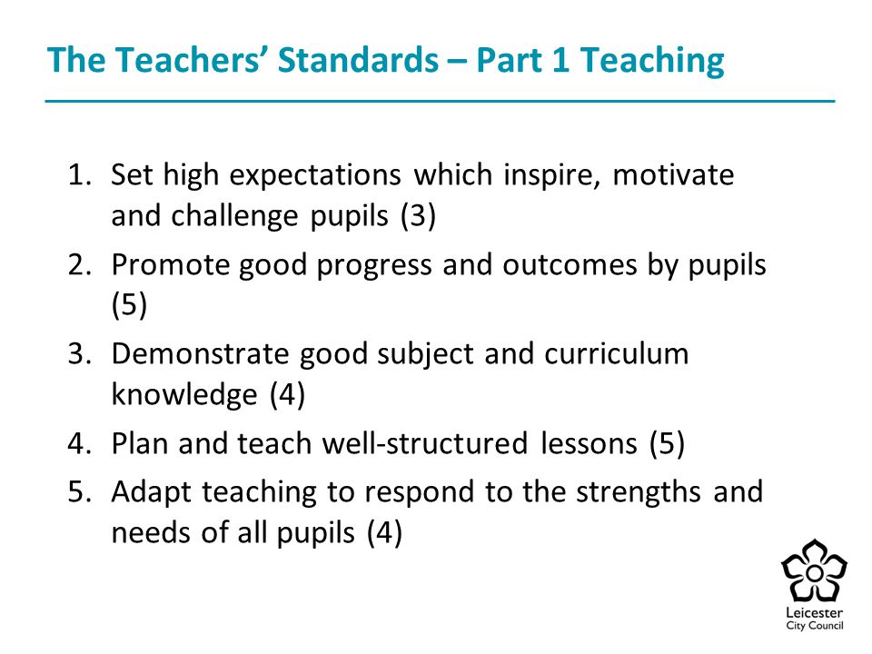 The Teachers' Standards – Part 1 Teaching