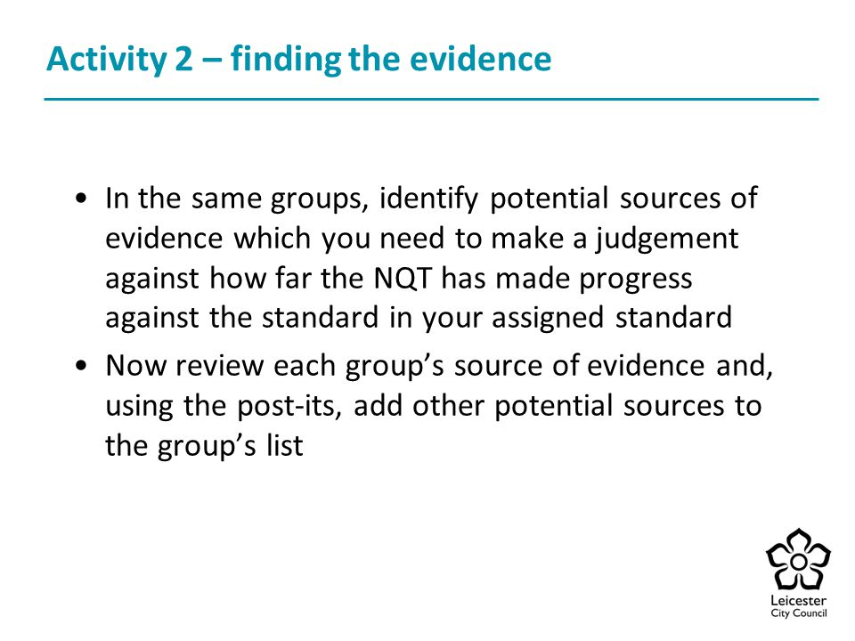 Activity 2 – finding the evidence
