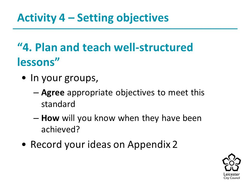 Activity 4 – Setting objectives 4