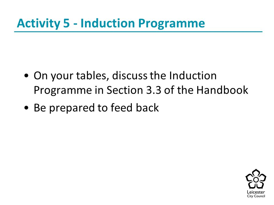 Activity 5 - Induction Programme