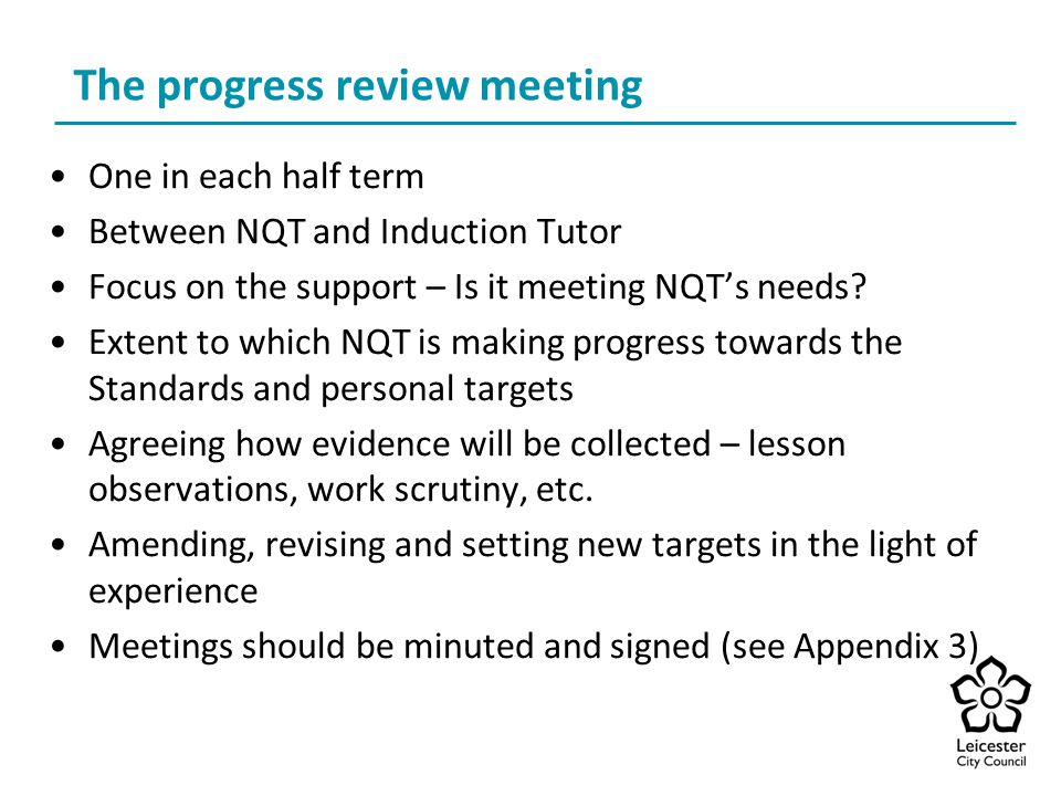 The progress review meeting
