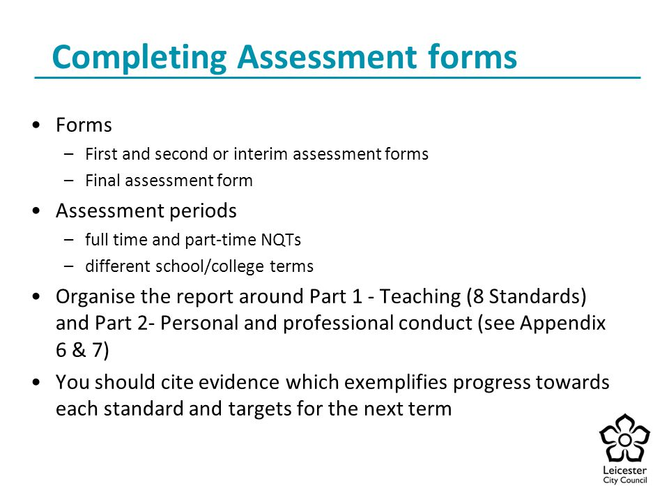 Completing Assessment forms