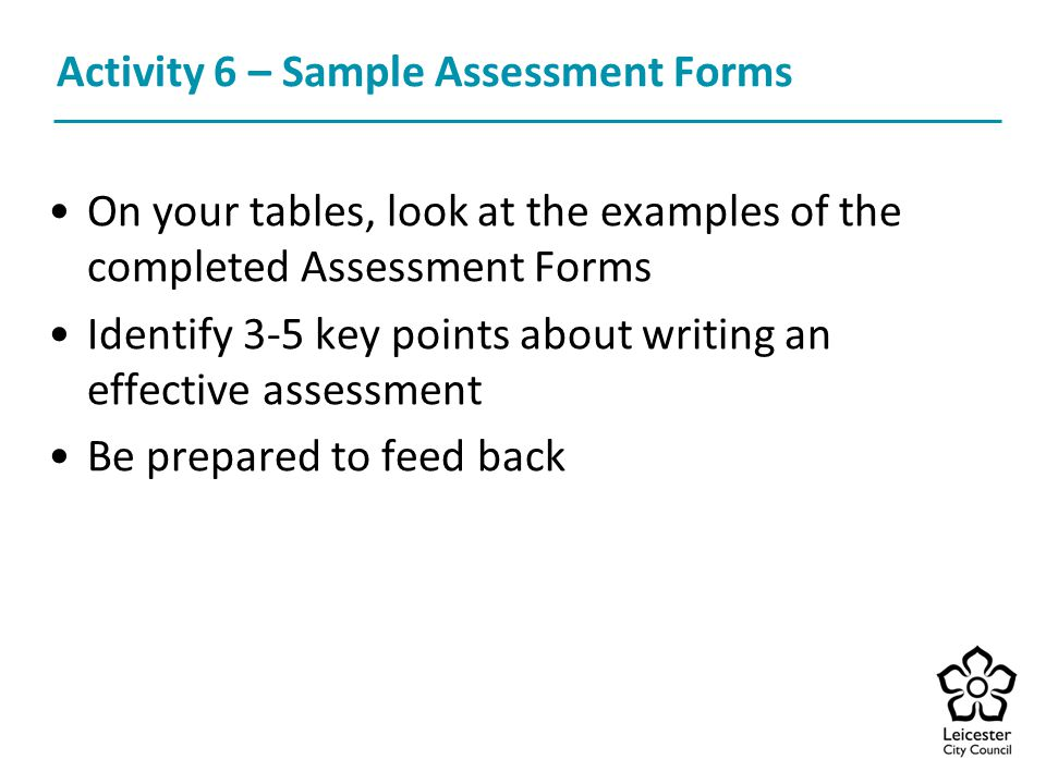 Activity 6 – Sample Assessment Forms