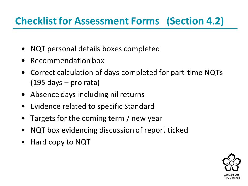 Checklist for Assessment Forms (Section 4.2)