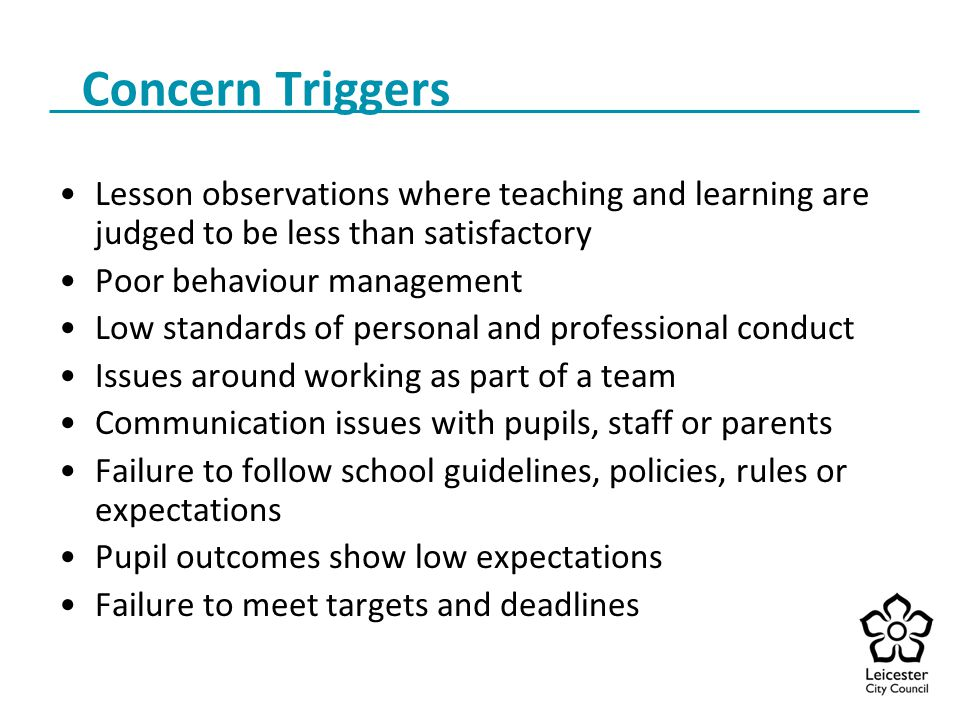 Concern Triggers Lesson observations where teaching and learning are judged to be less than satisfactory.