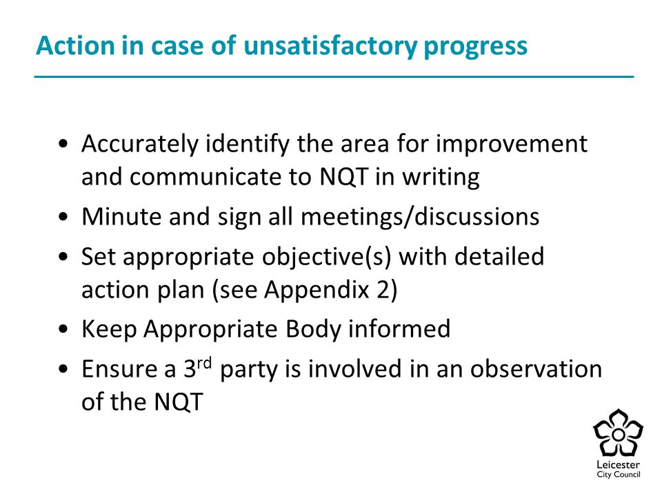 Action in case of unsatisfactory progress