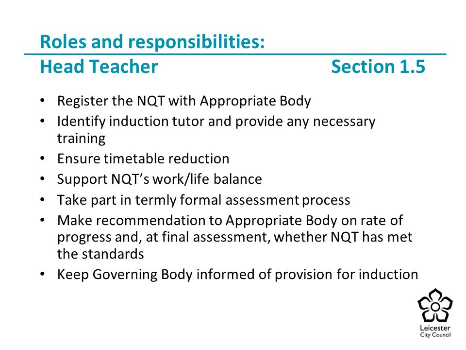 Roles and responsibilities: Head Teacher Section 1.5