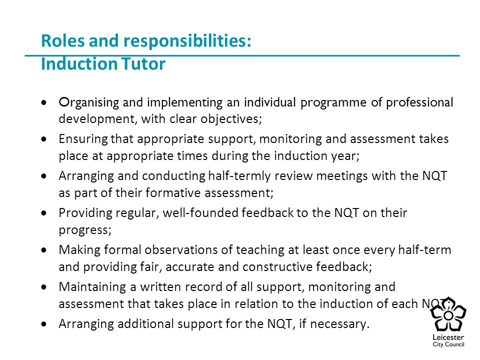 Roles and responsibilities: Induction Tutor
