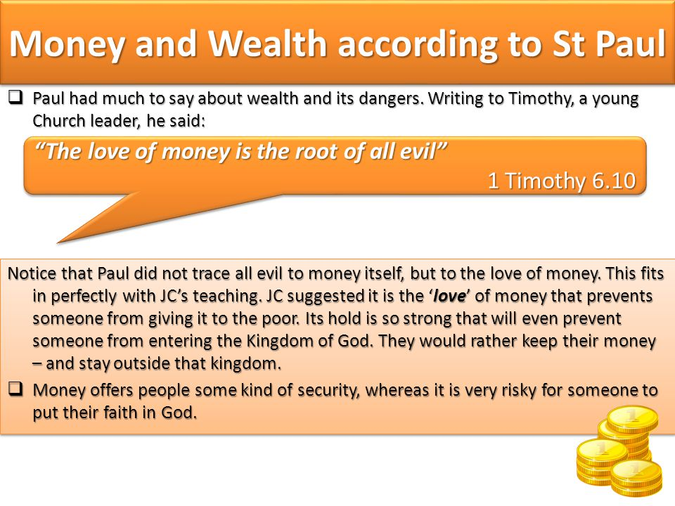 Money and Wealth according to St Paul