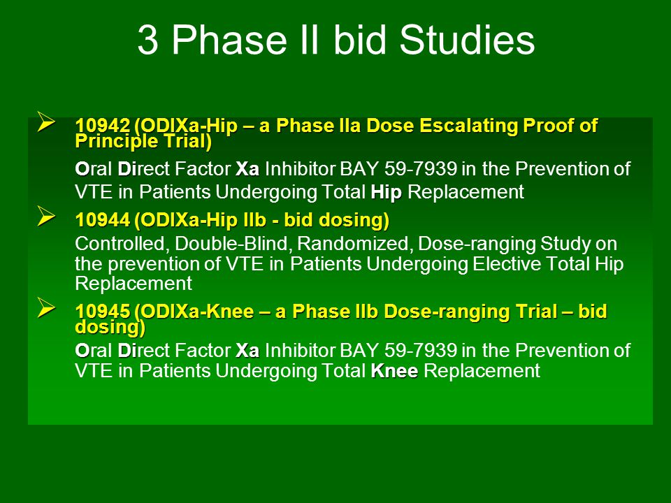 3 Phase II bid Studies 10942 (ODIXa-Hip – a Phase IIa Dose Escalating Proof of Principle Trial)