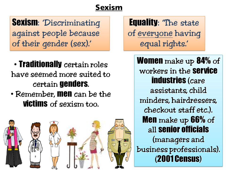 Sexism: 'Discriminating against people because of their gender (sex).'