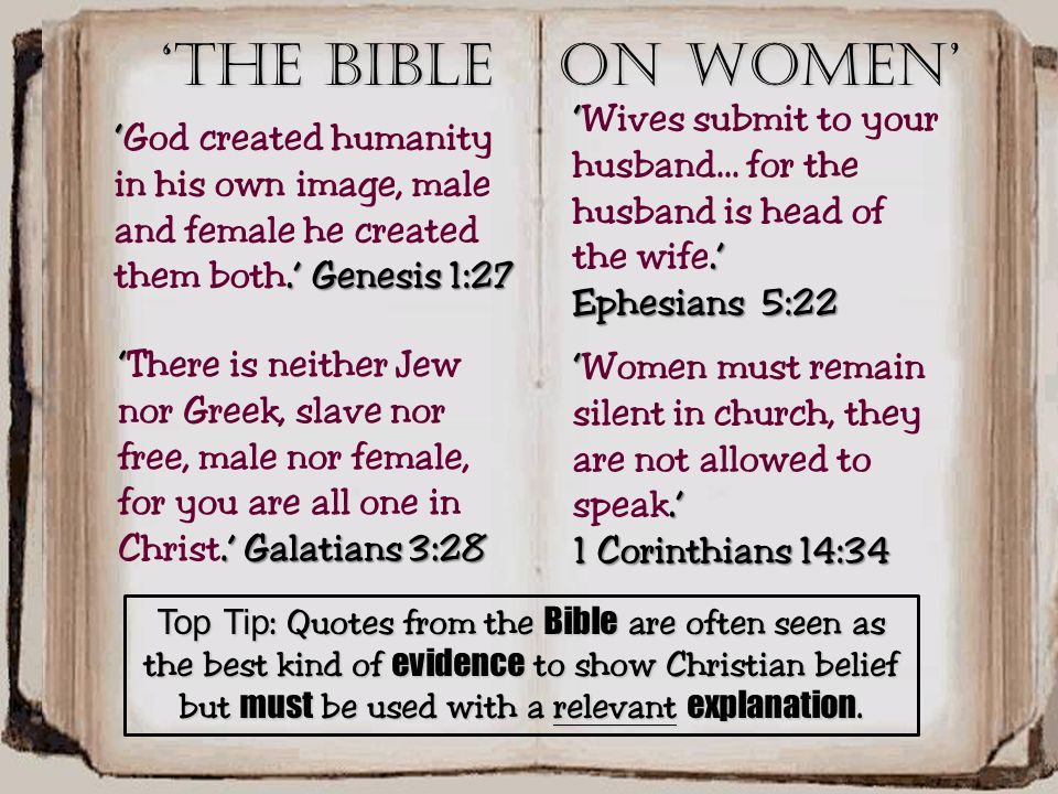 Top Tip: Quotes from the Bible are often seen as