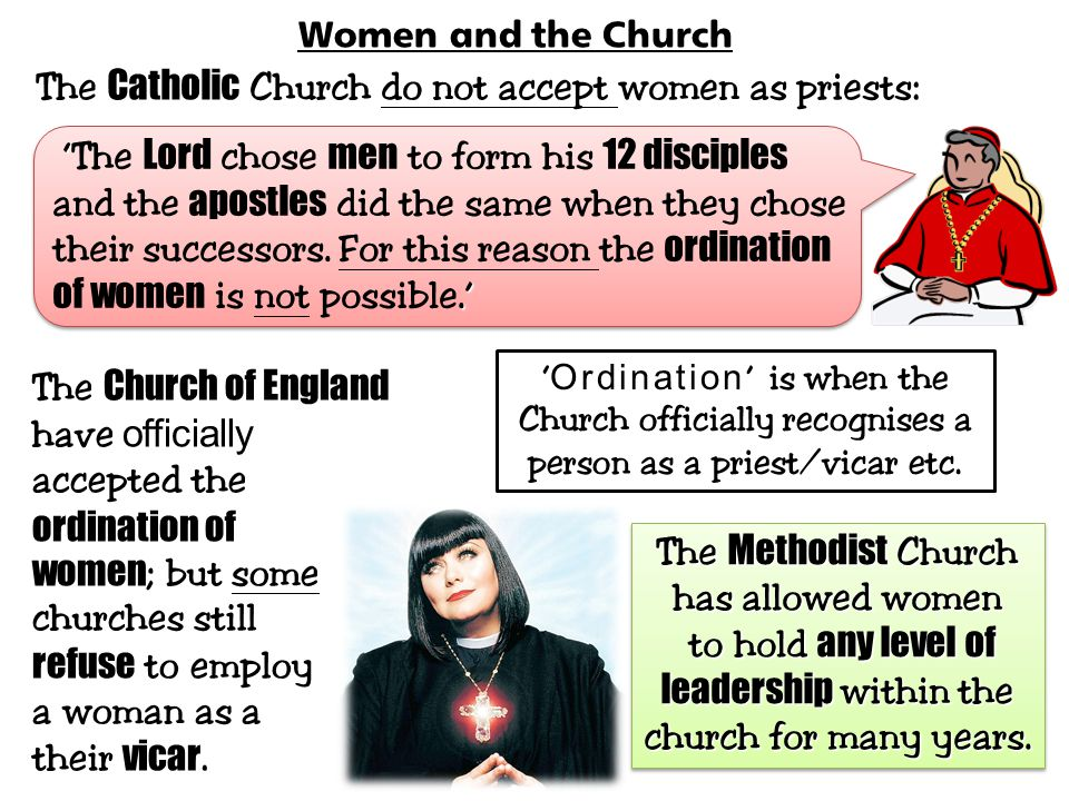 The Catholic Church do not accept women as priests: