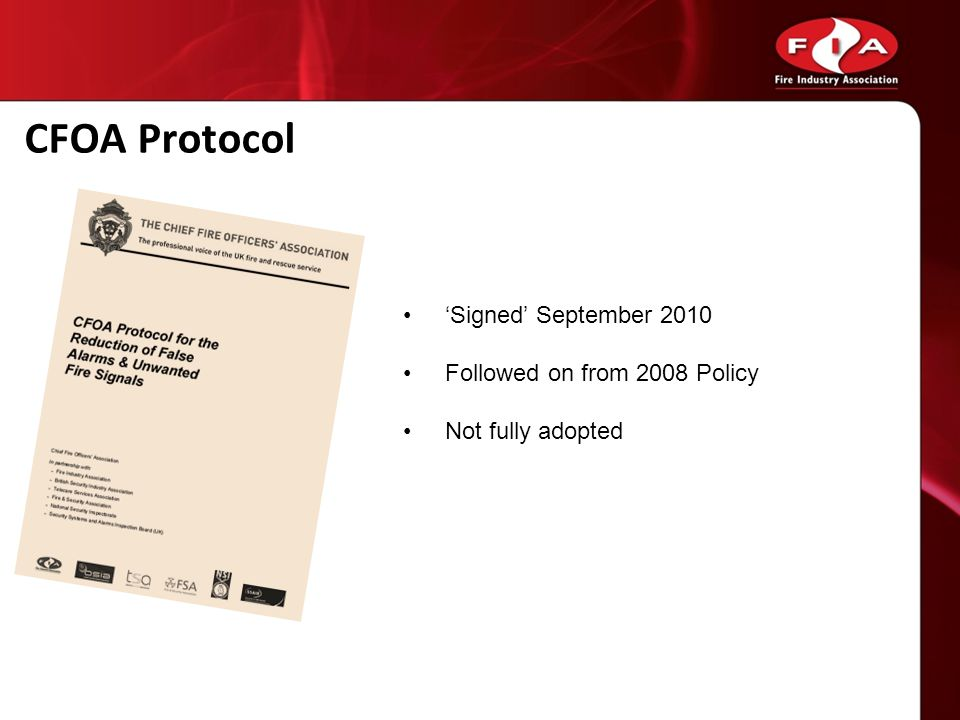 CFOA Protocol 'Signed' September 2010 Followed on from 2008 Policy
