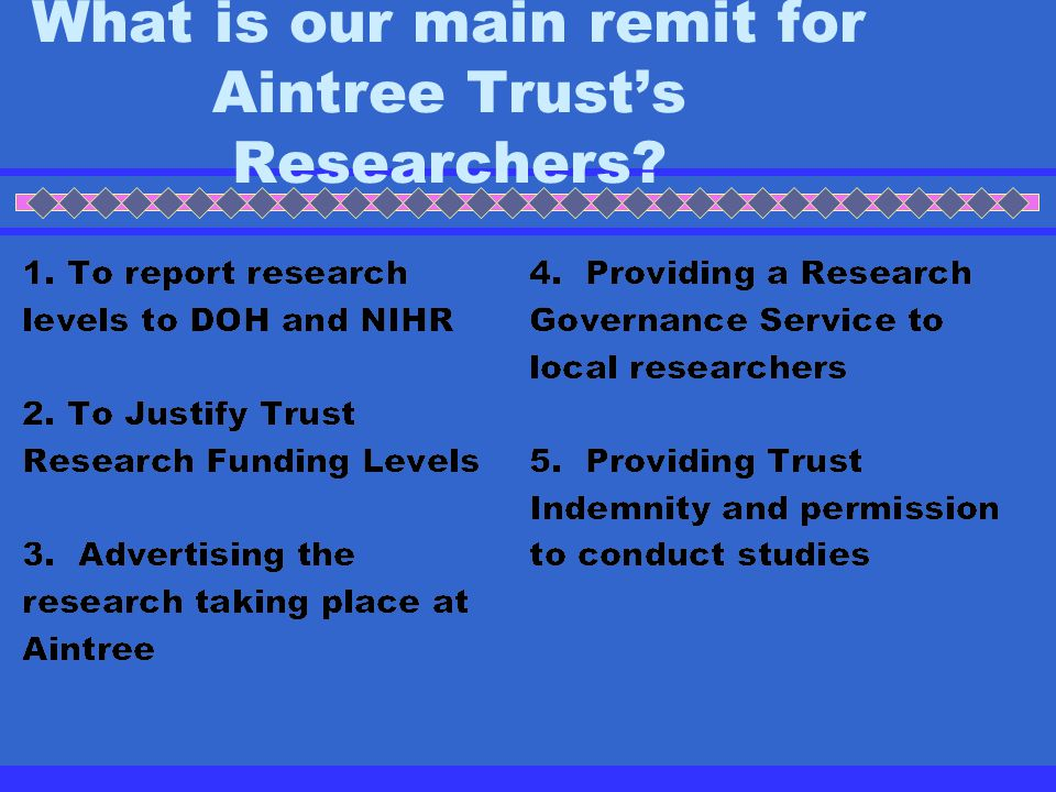 What is our main remit for Aintree Trust's Researchers