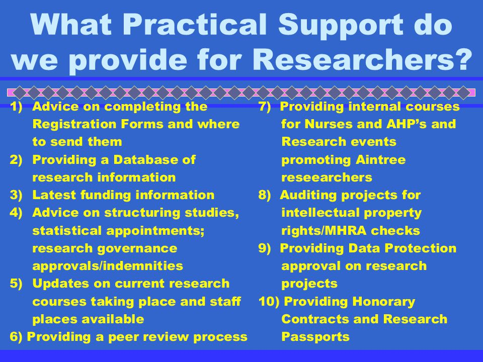 What Practical Support do we provide for Researchers