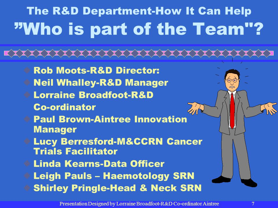 The R&D Department-How It Can Help Who is part of the Team