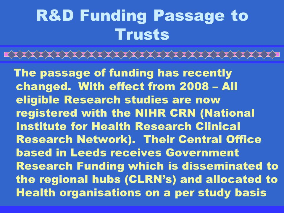 R&D Funding Passage to Trusts
