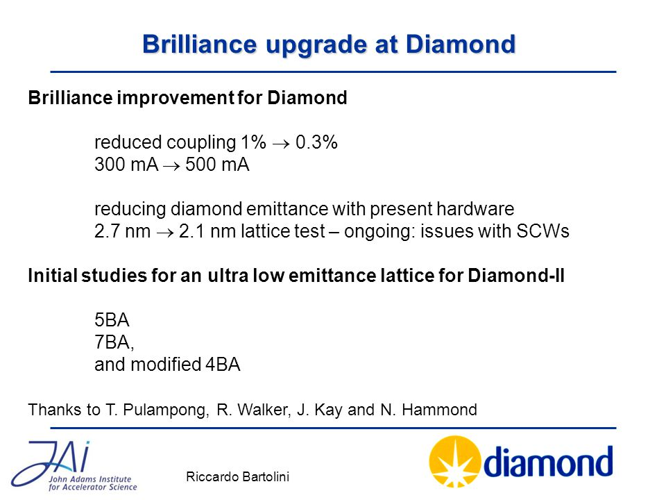 Brilliance upgrade at Diamond