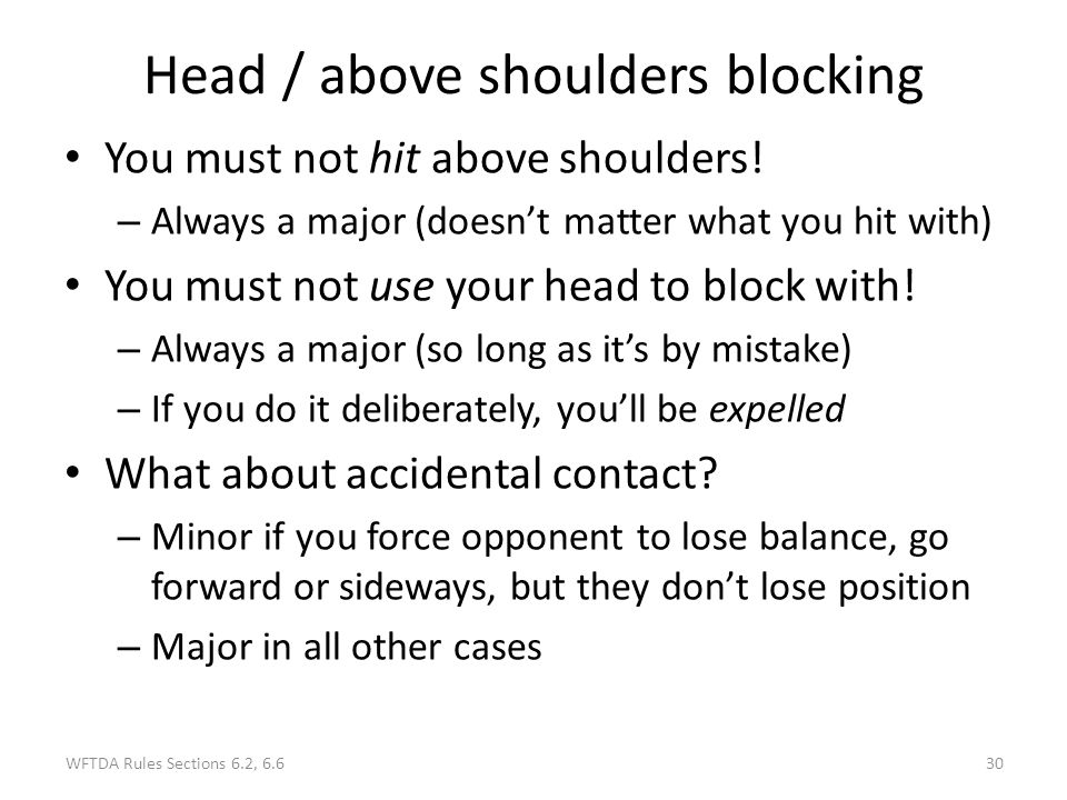 Head / above shoulders blocking