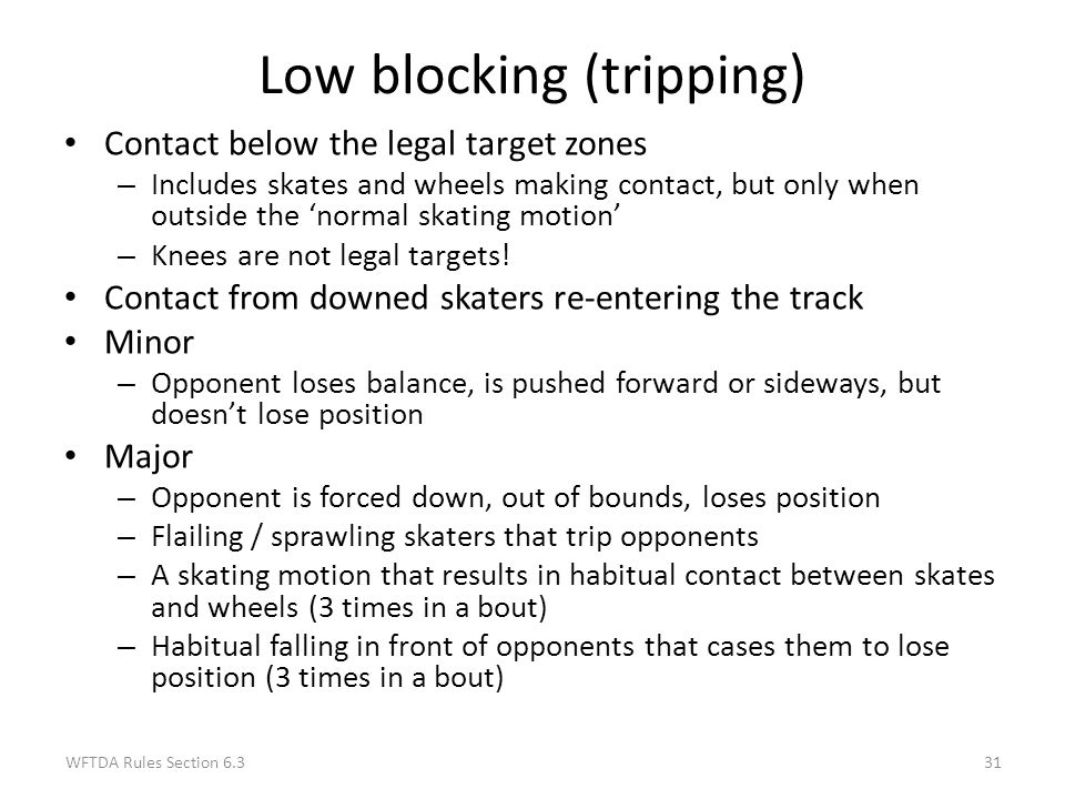 Low blocking (tripping)