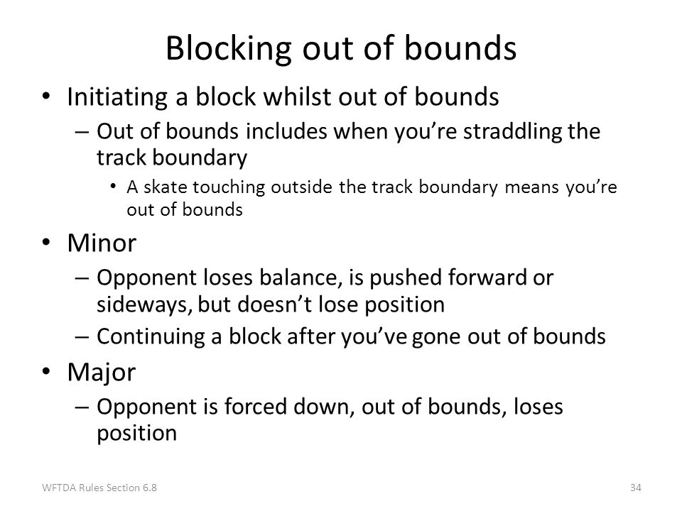 Blocking out of bounds Initiating a block whilst out of bounds Minor