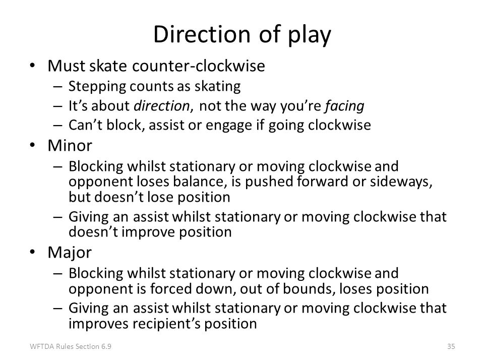 Direction of play Must skate counter-clockwise Minor Major