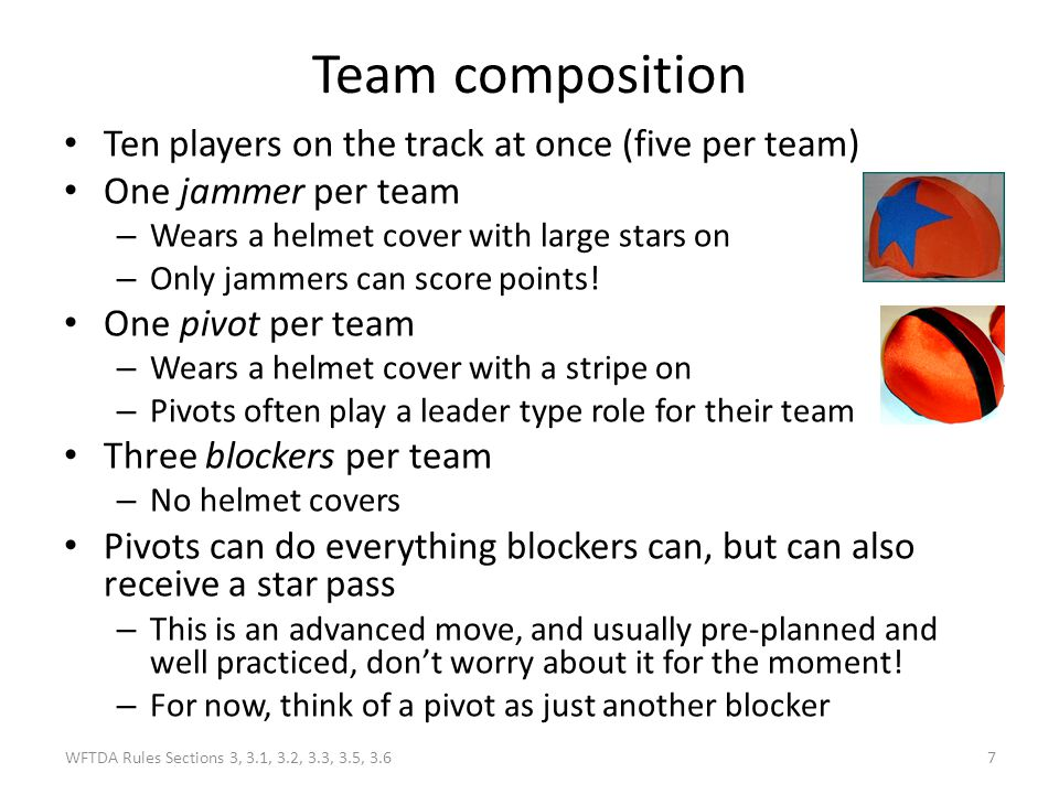 Team composition Ten players on the track at once (five per team)