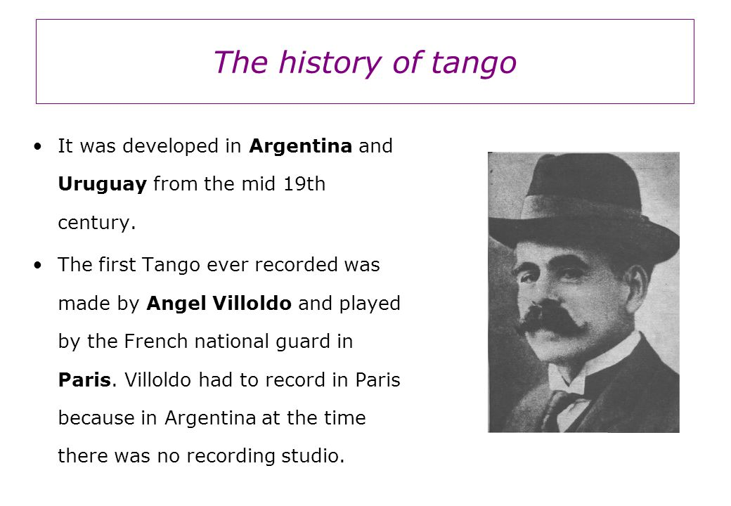 The history of tango It was developed in Argentina and Uruguay from the mid 19th century.
