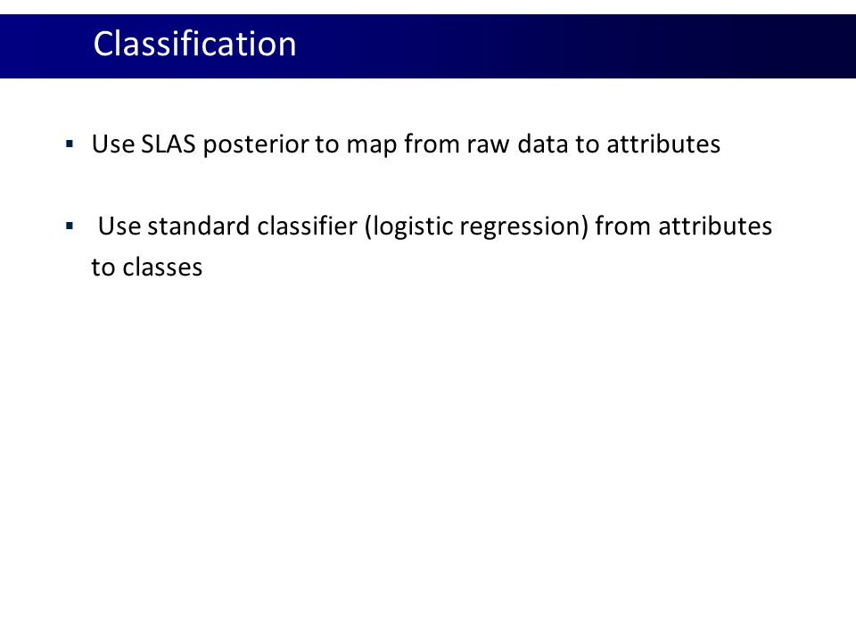 Classification Use SLAS posterior to map from raw data to attributes