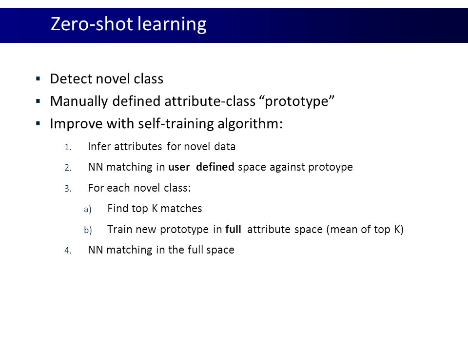 Zero-shot learning Detect novel class