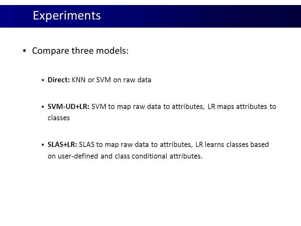 Experiments Compare three models: Direct: KNN or SVM on raw data